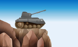 A tank at the cliff. Illustration of a tank at the cliff Royalty Free Stock Photography
