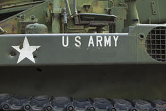 Tank close-up with text US Army on it. Royalty Free Stock Photos
