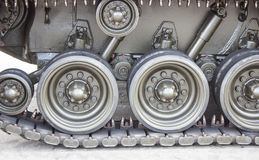 Tank close-up with wheel, caterpillar.  American tank. Royalty Free Stock Photography