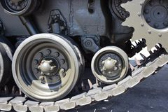 Tank close-up with wheel, caterpillar.  American tank. Royalty Free Stock Images