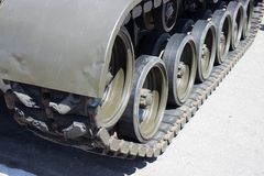 Tank close-up with wheel, caterpillar.  American tank. Royalty Free Stock Photos