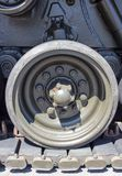 Tank close-up with wheel, caterpillar.  American tank. Royalty Free Stock Photo