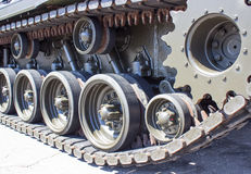 Tank close-up with wheel, caterpillar.  American tank. Stock Photography