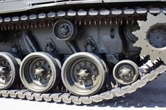 Tank close-up with wheel, caterpillar.  American tank. Royalty Free Stock Image