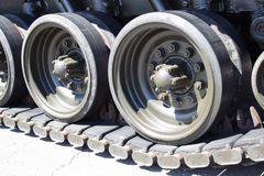 Tank close-up with wheel, caterpillar.  American tank. Stock Photography