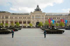 Tank column marches on Red Square Stock Photo