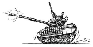 Tank in comics style. Vector drawing of heavy tank stylized as engraving in comics style Stock Image