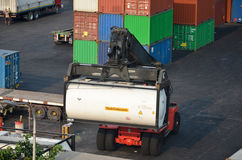 Tank container with forklift Royalty Free Stock Image