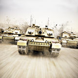 Tank Convoy. Military armored tank convoy moving at a high rate of speed with motion blur over sand. Generic photo realistic 3d rendering Royalty Free Stock Images