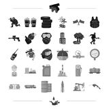 Tank, crane, pump and other web icon in black style.weapon, play, paint icons in set collection. Stock Photos