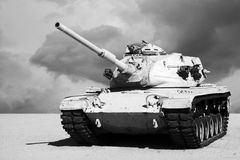 Tank in the Desert. Black and white of Army tank with dark cloudy skies and desert sand background Stock Photography