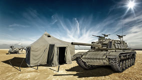 Tank in the desert Royalty Free Stock Photo