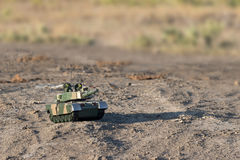 Tank in desert Stock Image