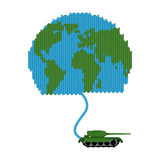 Tank dissolves knitted world. To wage war. Start of hostilities. Royalty Free Stock Photo