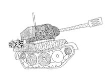 Tank doodle. Fighting war machine. army panzer.  Stock Photo