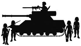 Tank with driver and soldiers all around. Tank with driver and soldiers in silhouette Royalty Free Stock Photography