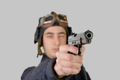 Tank driver Soviet soldier with handgun Royalty Free Stock Photos