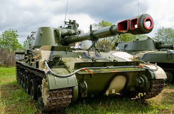 Tank Equipment. New battle tank fully equipped Stock Photo