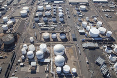 Tank Farm. Large petroleum storage and fuel filling tank farm Royalty Free Stock Photography