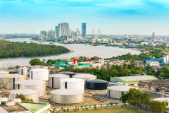 Tank farm on the country site which supply energy to the city. Stock Photos