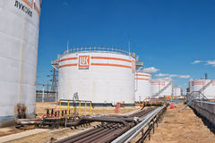 Free Tank Farm For Storage Of Various Petroleum Products With Logos C Royalty Free Stock Photo - 95732655
