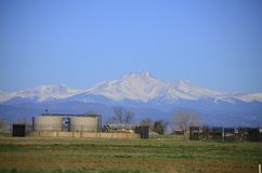 Tank Farm Oil well and Longs Peak Stock Photos