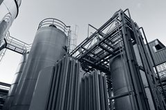 Tank farm with pipeline #6. Tank farm with pipeline in chemical plant Royalty Free Stock Photos