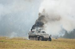Tank in the fire Stock Images