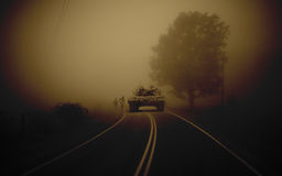 Tank in the fog Stock Images