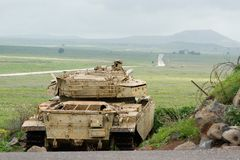 Tank at the Golan Heights. Tank guards the border at the Golan Heights Stock Photos