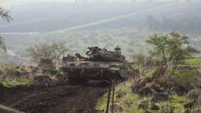 Tank in the Golan Heights royalty free stock photo
