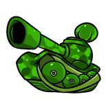 Tank green khaki cartoon illustration Royalty Free Stock Photography