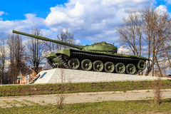 Tank has become a monument. A former war machine stands on a pedestal Royalty Free Stock Images