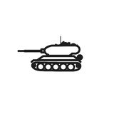 Tank icon, panzer on white background isolated object abstract icon Stock Photo