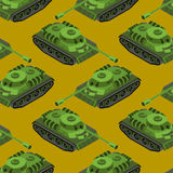Tank Isometric Seamless Pattern. Army Machinery Texture. Armored Stock Image