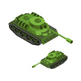 Tank Isometric on white background. Army technique. Armored figh. Ting vehicles, tracked with gun and machine gun Stock Photos