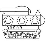 Tank kids coloring pages geometrical figures Royalty Free Stock Photo