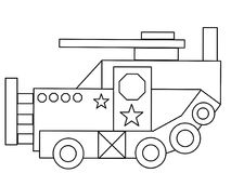 Tank kids high quality coloring page Stock Image