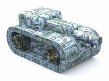 Tank made of dollars Royalty Free Stock Photos