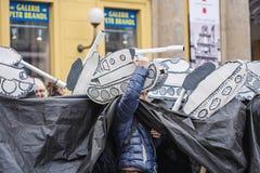Tank masks on Velvet carnival in honor to Velvet revolution in 1 Royalty Free Stock Photography