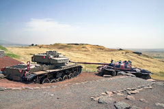 Tank Memorial after the Yom Kippur War. GOLAN HEIGHTS, ISRAEL - MAY 27, 2015: Syrian tank T-55 and Israeli tank Centurion. Tank Memorial Valley of Tears, after Stock Photos