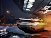Tank in modern battle Stock Photography