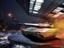 Tank in modern battle Stock Photography