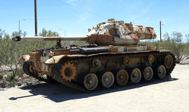 Tank. Old camouflage tank in the desert Stock Images