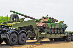 Tank op aanhangwagen Stock Foto's