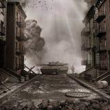 Tank op de straat royalty-vrije illustratie