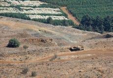 Tank op de Syrisch-Israëlische grens Royalty-vrije Stock Fotografie