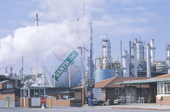 Tank painted as a globe with the words �Earth Day 1970-1990�  at a Unocal oil refinery in Los Angeles, CA Stock Photo