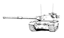 The heavy tank is painted with ink. The tank is painted with ink on a white background Royalty Free Stock Photo