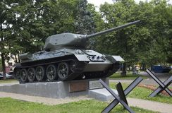 The tank on a pedestal in moscow russia stock photos